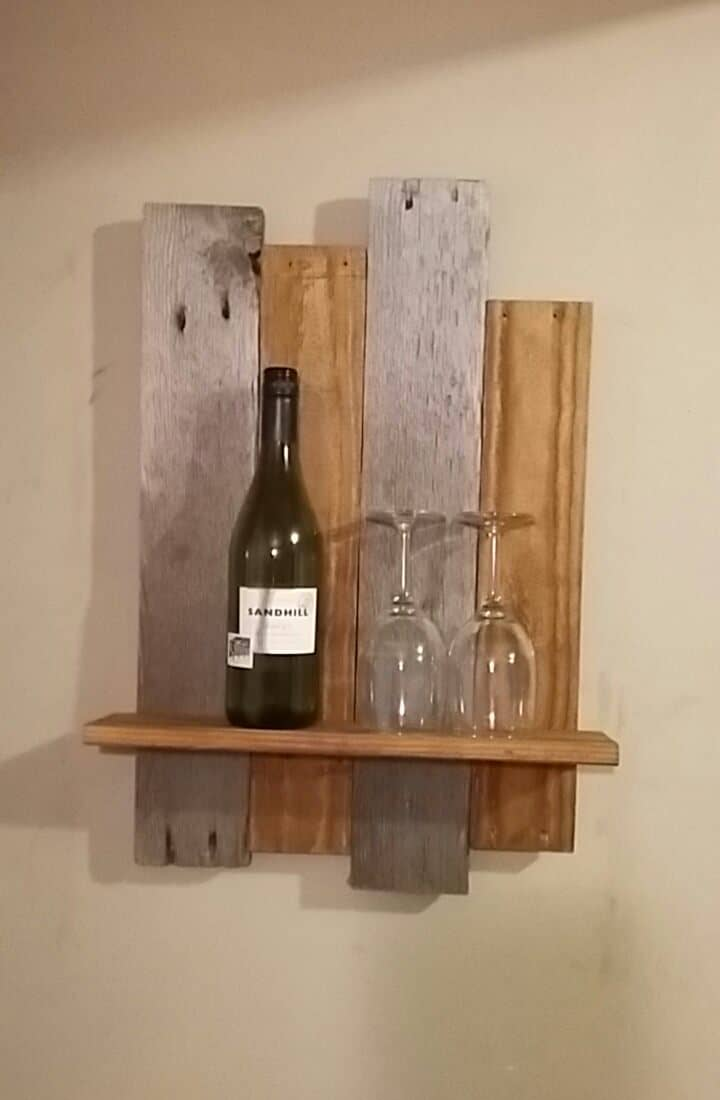 Uneven Height Mixed Tones Rustic Pallet Shelf 1001 Pallets