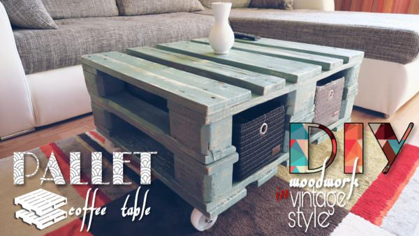 Vintage Style Pallet Coffee Table With DIY Video 1001 Pallets