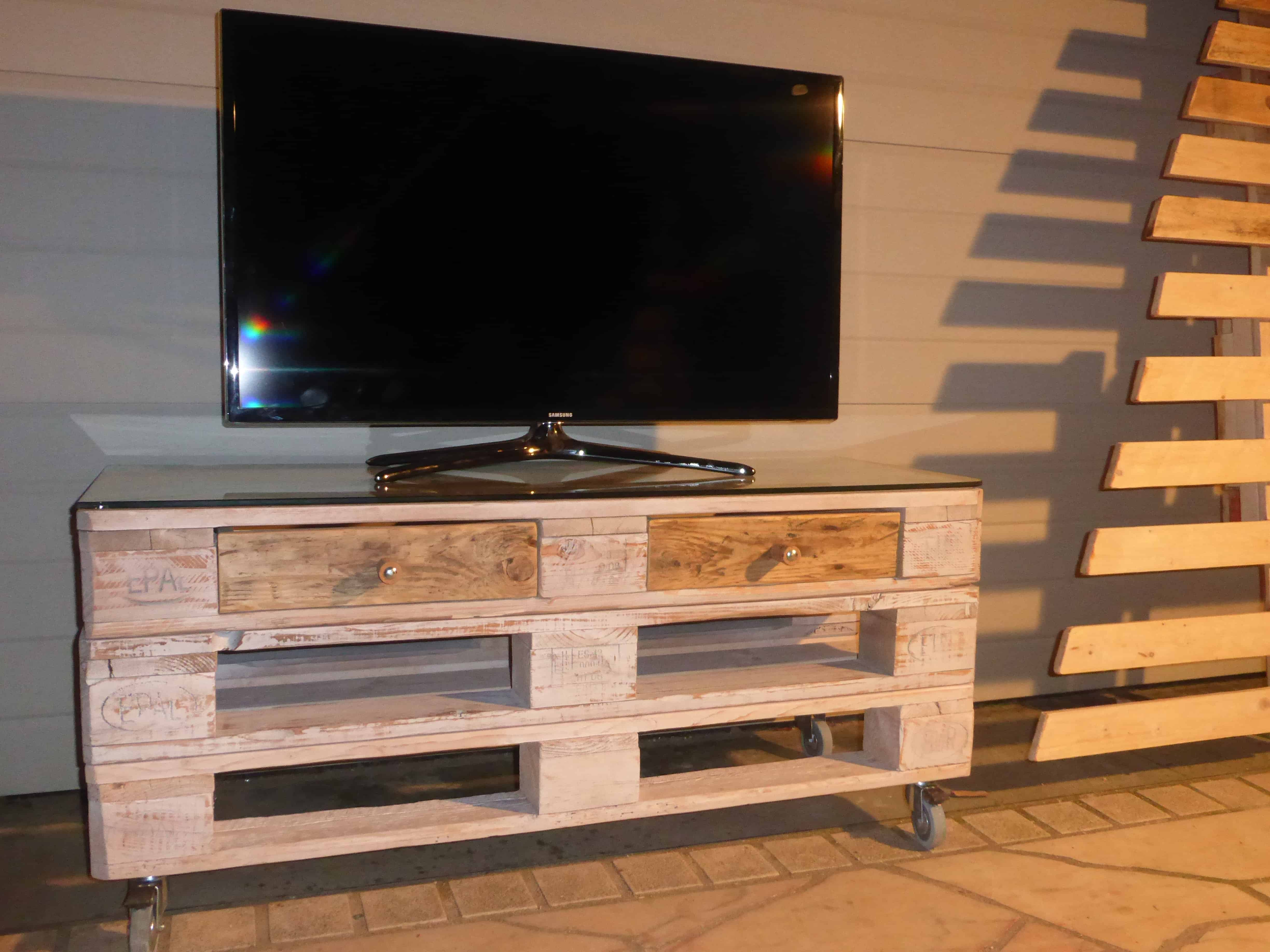Whitewashed Mobile Pallet TV Stand Has Drawers Too 1001