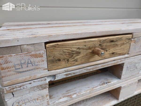 Whitewashed Mobile Pallet TV Stand Has Drawers Too! Pallet TV Stand & Rack
