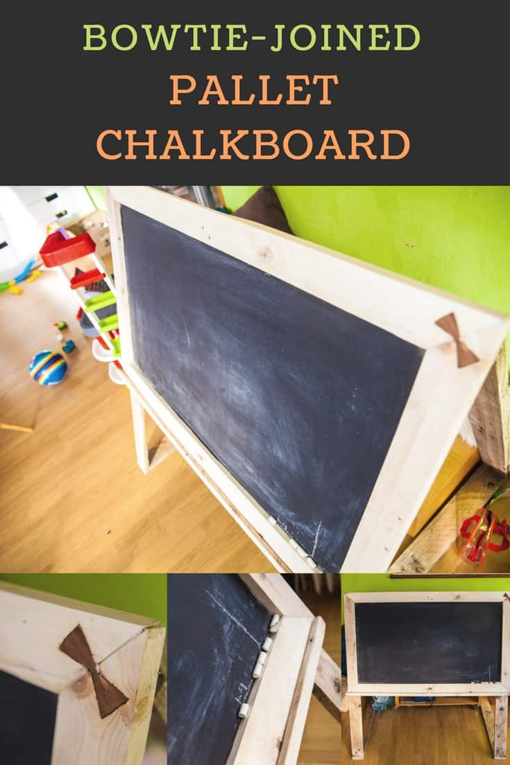 bowtie joined pallet chalkboard tableau noir en bois de palettes 1001 pallets. Black Bedroom Furniture Sets. Home Design Ideas