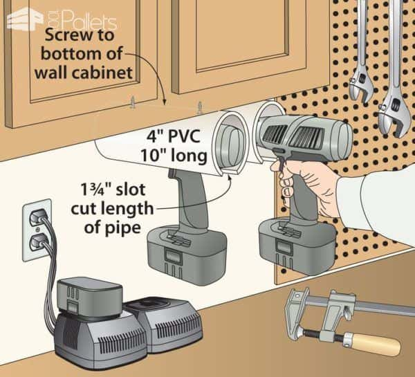 garage ceiling shelf ideas - Diy Brilliant Cordless Tool Station You Can Make With