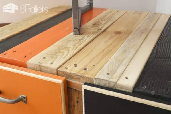 Fun Bi-level Pallet Sofa Table Has Two Drawers Plus Wheels! Pallet Coffee Tables