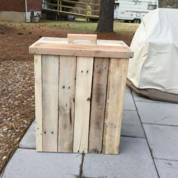 Modified Outdoor Pallet Wood Trash Can