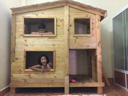 Outstanding Pallet Kids Bunk Beds With Playhouse