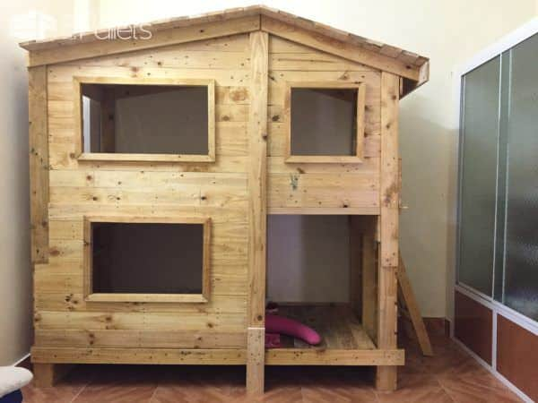 Popular Outstanding Pallet Kids Bunk Beds With Playhouse DIY Pallet Bed Headboard u FramePallet Sheds Pallet
