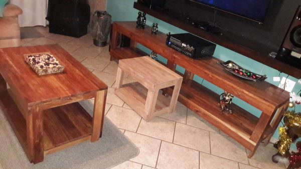 Pallet Living Room Table Trio3