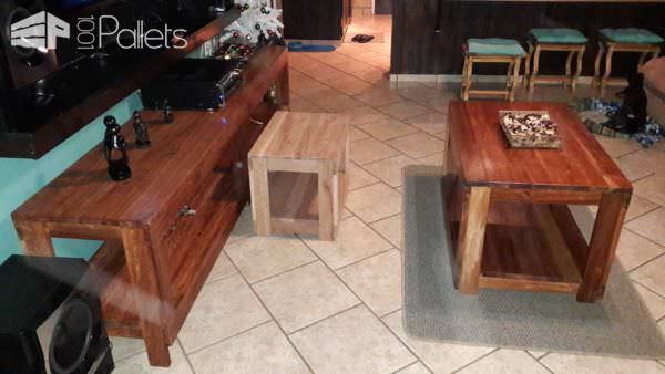 Pallet Living Room Table Trio7