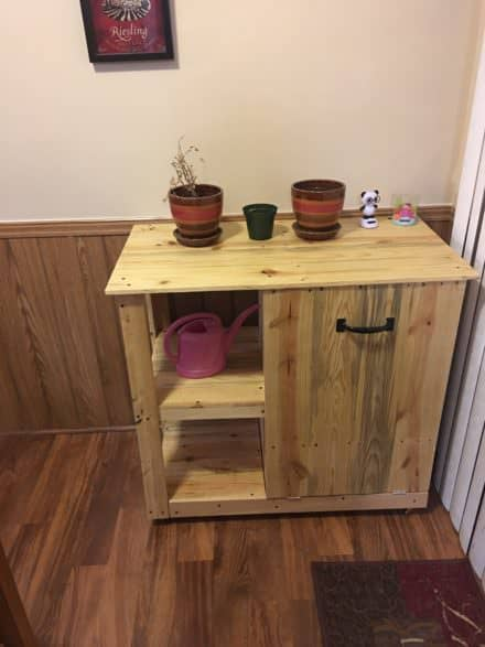 Pallet Trash Can Hideaway Shelving Unit