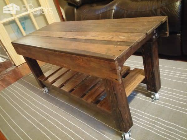 Pallet Coffee Table Has Casters3