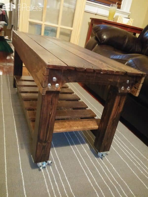 Pallet Coffee Table Has Casters2