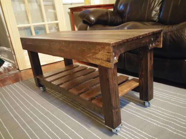 Pallet Coffee Table Has Casters1