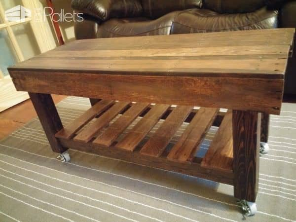 Pallet Coffee Table Has Casters4