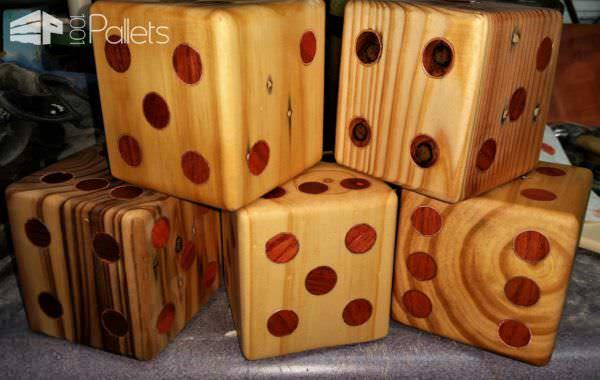 Yardzee Pallet Dice Set With Scorecard Storage Bucket Fun Pallet Crafts for Kids