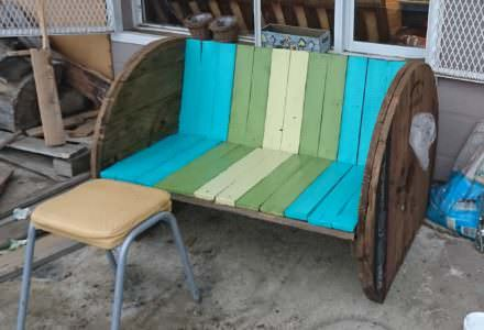Cable Spool Plus Pallet Wood Backyard Bench