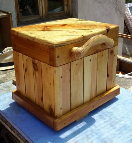 Diagonal-topped Pallet Chest/Seat Features Carved Handle