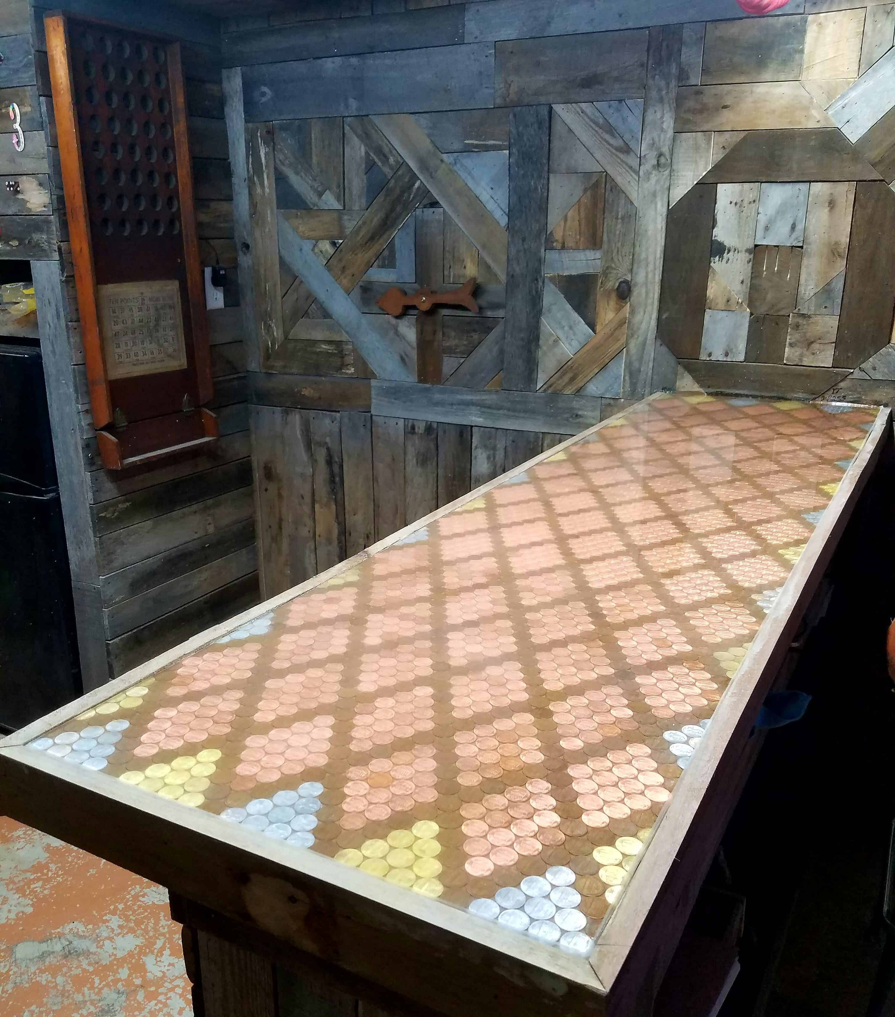 Pallet Bar Featuring Epoxy Penny Top