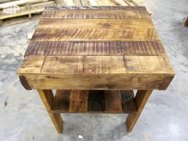 Pallet Wood End Table Has Lower Shelf Pallet Desks & Pallet Tables