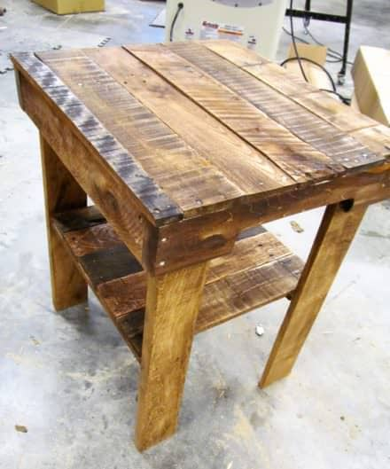 Pallet Wood End Table Has Lower Shelf