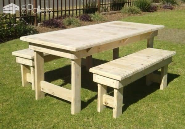 Patio Pallet Dining Table Set3