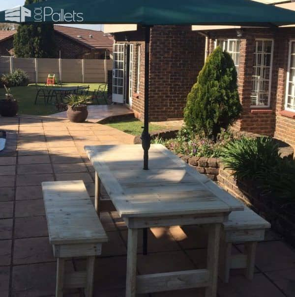 Patio Pallet Dining Table Set6