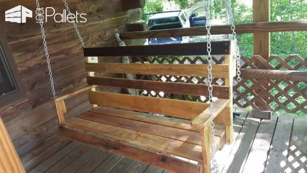 Diy One Pallet Bench Swings18