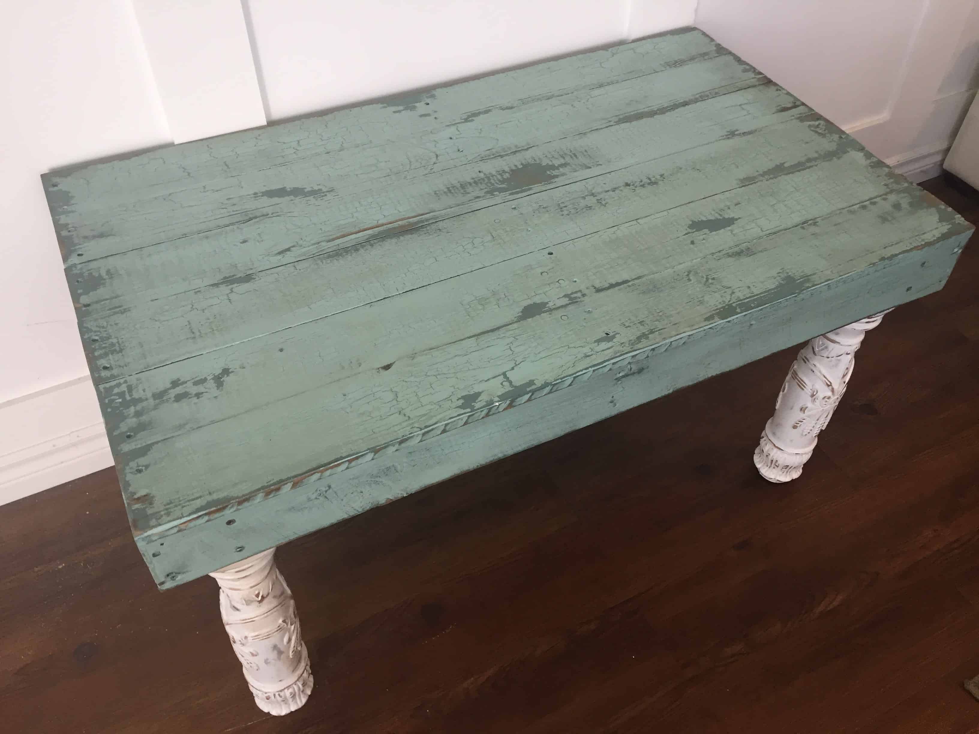 Reclaimed pallet side table has upcycled bed frame post for Pallet bed frame with side tables