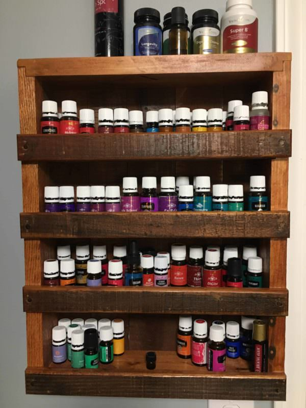 Small Pallet Shelf Displays Essential Oils Pallet Shelves & Pallet Coat Hangers