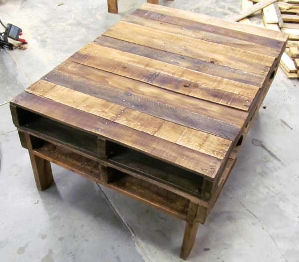 Two-Pallet Rustic Pallet Coffee Table2