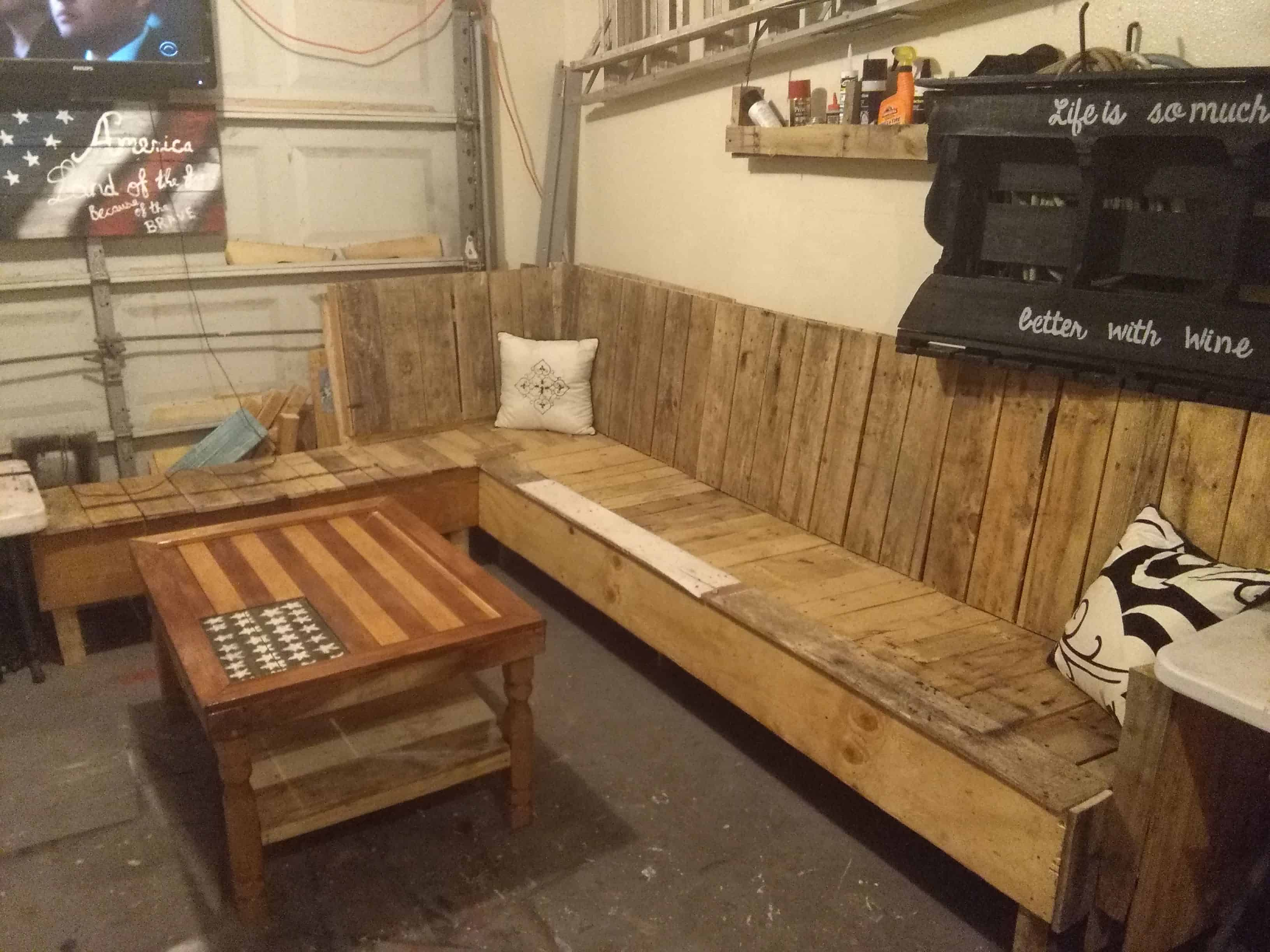 Game Room Pallet Sectional Sofa