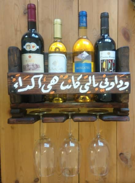Illustrated Pallet Wine Rack