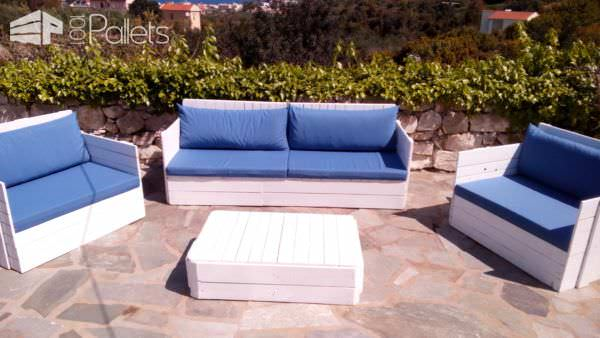 Poolside Pallet Living Room Set Lounges & Garden Sets Pallet Benches, Pallet Chairs & Stools