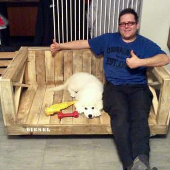 Rolling Outdoor Pallet Dog Bench Your Dog May Share With You
