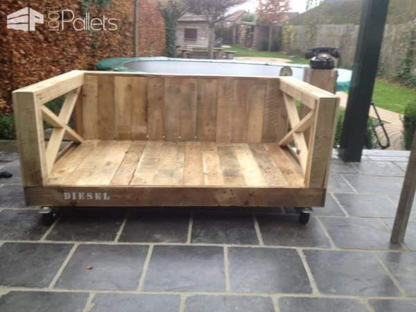 Rolling Outdoor Pallet Dog Bench Your Dog May Share With You Animal Pallet Houses & Pallet Supplies Pallet Benches, Pallet Chairs & Stools