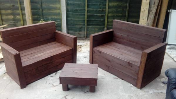 Sleek Pallet Loveseat Set Lounges & Garden SetsPallet Benches, Pallet Chairs & Stools