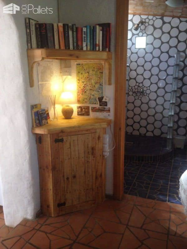 Space Saving Corner Pallet Cupboard and Bookshelf Pallet Bookcases & Pallet Bookshelves