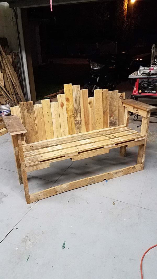 Store Front Decorative Backed Pallet Bench Seat 1001 Pallets