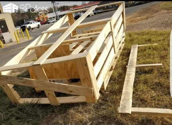 Two Adirondack Chairs With Foot Rests Pallet Benches, Pallet Chairs & Stools