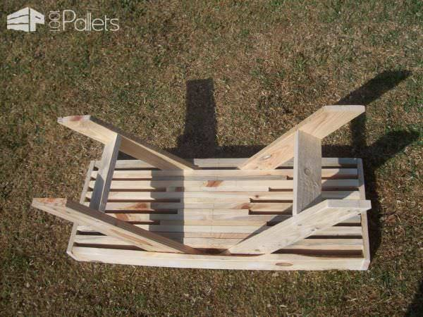 Modern Stacked Pallet Patio Set Pallet Benches, Pallet Chairs & Stools