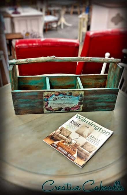 Painted Branch-handle Pallet Tote Crate With Decoupage Accents
