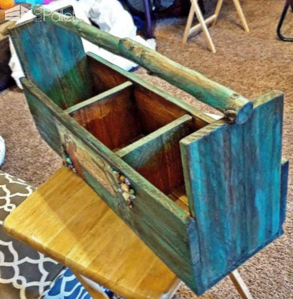 Painted Branch-handle Pallet Tote Crate With Decoupage Accents Other Pallet Projects