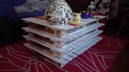 Stacked Pallet Coffee Table With Cheery Colors