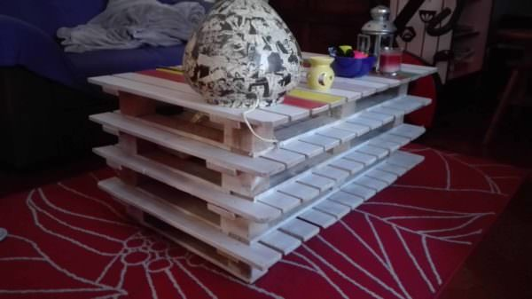 Stacked Pallet Coffee Table With Cheery Colors Pallet Coffee Tables