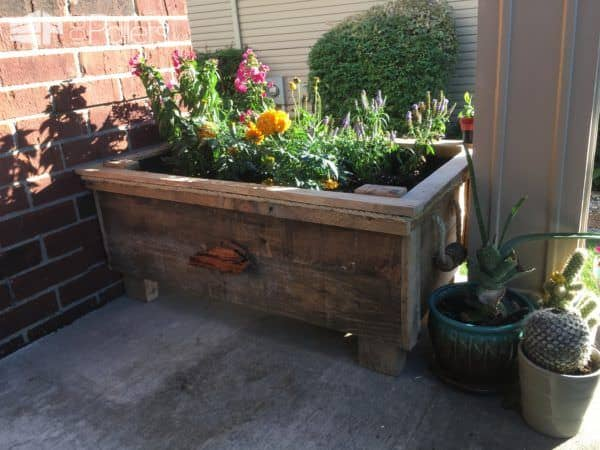 Raised Pallet Flower Planter Features Driftwood! Pallet Planters & Compost Bins