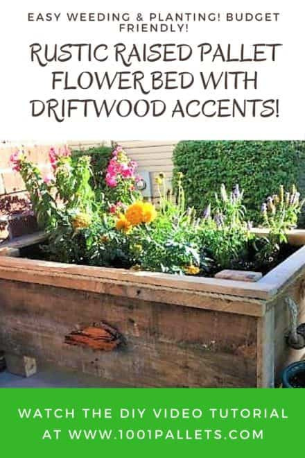 Diy Video Tutorial: Raised Pallet Flower Planter Features Driftwood!
