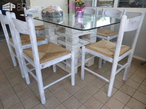 Glass/Pallet Dining Table Uses Upcycled Dining Chairs Pallet Desks & Pallet Tables