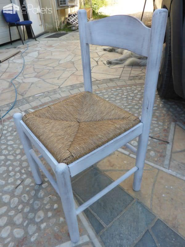 Glass/Pallet Dining Table Uses Upcycled Dining Chairs