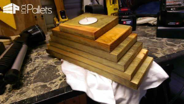 Wedding Pallet Craft Ideas - stacked pallet wood tealight candle holders.