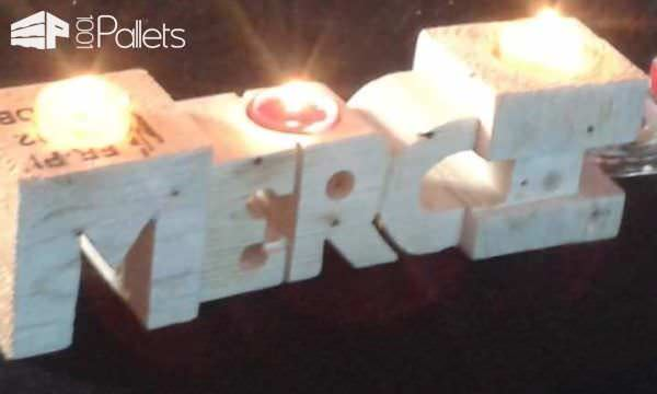Wedding Pallet Craft Ideas - pallet candle holders carved into letter shapes.
