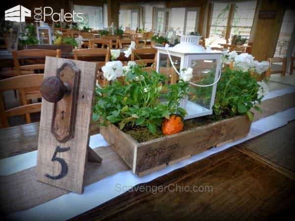 Wedding Pallet Craft Ideas - shabby chic table centerpieces.